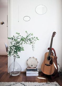 Interior decorating with plants and placements of household items guitar placement and plant placement interior space - that vase.