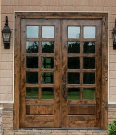 Rustic style double entry doors of 300 fully pre for Double hung exterior french doors