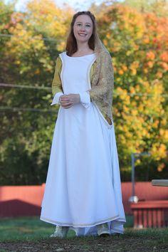 Medieval Renaissance Wedding Dress, Sideless Surcoat, White Velvet