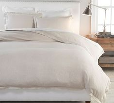 Belgian Flax Linen Double Flange Solid Duvet Cover - Natural | Pottery Barn Neutral Bedding, Ruffle Duvet, Linen Duvet, Cotton Duvet, Pottery Barn, Queen, New Room