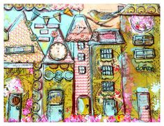 Prints from my original paper-pieced mixed media houses. You can see detail in photos. This one reads: Just embark and create.  Printed on