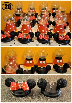 One of the cutest projects I did for my daughter's birthday party was the Mickey & Minnie Gumball Machines. I received so many compliments from this project and it was pretty easy to… Mickey Party, Festa Mickey Baby, Mickey Mouse Clubhouse Birthday Party, Mickey Y Minnie, Mickey Mouse Parties, Mickey Mouse Birthday, 1st Birthday Parties, 2nd Birthday, Disney Parties
