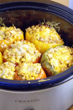 Sweet bell peppers stuffed with a classic cheesy ground beef and rice filling all in the Crockpot, makes these Slow Cooker Stuffed Peppers a family favorite! EVERYTHING goes in uncooked and comes out one delicious, cozy meal. Best Slow Cooker, Slow Cooker Beef, Slow Cooker Recipes, Cooking Recipes, Healthy Recipes, Slow Cooker Meals Healthy, Cooking Tips, Healthy Food, Slower Cooker