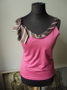 Upcycled Clothing / Pink Camisole with Repurposed Necktie Detailing / Womens Tops Tanks / Upcycled Neckties / Necktie Tank Top / Boho Chic on Etsy, $30.00