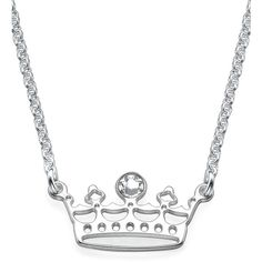 My Only One Sterling Silver Princess Tiara Necklace ($45) ❤ liked on Polyvore featuring jewelry, necklaces, grey, sterling silver chain necklace, chain necklaces, sterling silver necklace, thick necklace and chains jewelry