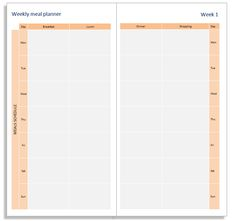 My Life All in One Place: Print your own Weekly Meal Planner booklet for the Midori Traveler's Notebook