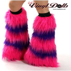 Cheshire Cat Fluffies UV Hot Pink and Purple Rave Furry Leg Warmers (58 CAD) ❤ liked on Polyvore featuring intimates, hosiery, costumes, rave, shoes, hot pink leg warmers, long slip, long leg warmers and purple leg warmers