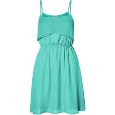Vero Moda Summer Short Dress (€30) ❤ liked on Polyvore featuring dresses, vestidos, robes, lucite green, blue ruffle dress, blue mini dress, green dress, green summer dress and mini dress