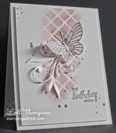 Blushing Butterfly by Loll Thompson - Cards and Paper Crafts at Splitcoaststampers Birthday Cards For Women, Handmade Birthday Cards, Happy Birthday Cards, Greeting Cards Handmade, Female Birthday Cards, Birthday Box, Birthday Wishes, Memory Box Cards, Memory Box Dies