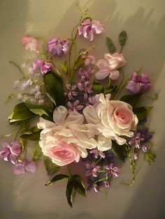*RIBBON ART ~ Roses and violets in perfect arrangement