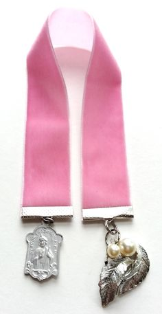 Pink Velvet Ribbon Bookmark Vintage Jewelry, Book Mark, Religious Charm & Faux Pearl Silver Leaf by Snowyowltreasures on Etsy