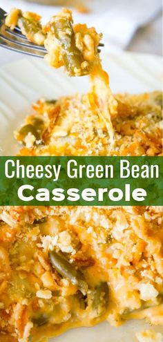 Cheesy Green Bean Casserole is an easy side dish recipe made with Campbell's cheddar cheese soup, shredded Parmesan, mozzarella, cheddar and topped with Townhouse Light and Buttery Original Crackers and French's Fried Onions. #greenbeancasserolerecipe