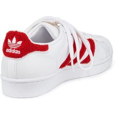 adidas Superstar Classic Fashion Sneaker ($89) ❤ liked on Polyvore featuring shoes, sneakers, white leather shoes, white shoes, adidas trainers, white trainers and low heel shoes