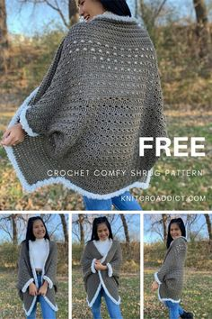 Learn to crochet an easy shrug with step by step video tutorial and written pattern, includes women's sizes XS-4XL. This shrug beyond cozy, comfy and fashionable. #crochetshrugpattern #crochet #crochetshrug #freecrochetpattern #pattern #shrug Lidia Crochet Tricot, Poncho Au Crochet, Crochet Coat, Crochet Shawls And Wraps, Crochet Jacket, Crochet Cocoon, Easy Crochet Shrug, Bobble Stitch Crochet, Crochet Shrugs
