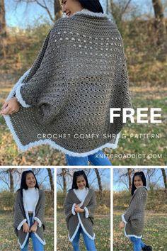 Lidia Crochet Tricot, Poncho Au Crochet, Crochet Coat, Crochet Shawls And Wraps, Crochet Jacket, Crochet Clothes, Crochet Cocoon, Crochet Cardigan Pattern Free Women, Easy Crochet Shrug