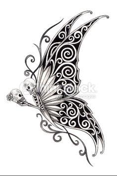Skull butterfly Skull Butterfly Tattoo, Hand Tattoos, Tribal Tattoos, Skull Art, How To Draw Hands, Henna, Hennas, Hand Reference, Skulls