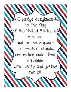 FREE Pledge of Allegiance Posters for teaching your kids the pledge.