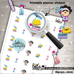 Clean Windows Stickers Printable Planner Stickers by LetsPaperUp
