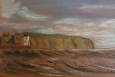 Cliffs by Barbara Singleton, pastels.