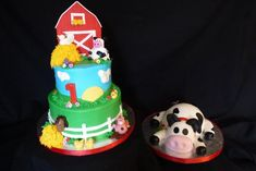 2 tier cake in buttercream with fondant accents. Animals hand molded out of fondant mixed with. Farm Birthday Cakes, Cow Birthday, 1st Birthday Cakes, First Birthday Parties, Birthday Ideas, Thomas Birthday, Animal Birthday, Barnyard Party, Farm Party
