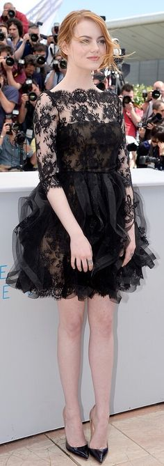 """Emma Stone Photos - Actress Emma Stone attends a photocall for """"Irrational Man"""" during the annual Cannes Film Festival on May 2015 in Cannes, France. - 'Irrational Man' Photocall - The Annual Cannes Film Festival High Fashion Outfits, Celebrity Outfits, Celebrity Style, Women's Fashion, Fashion Black, Dress Fashion, Fashion Trends, Black Lace Gown, Emma Stone Style"""