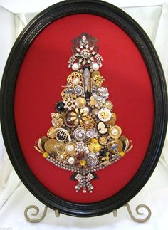 "Vintage Framed Jewelry Art Christmas Tree ""Nutcracker Ballet"" Ballerinas Mouse 