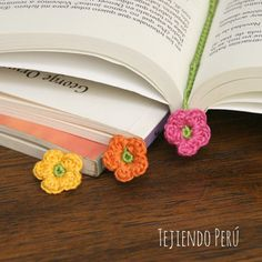 Crochet: flores marcadores de libro!  English subtitles video tutorial! ༺✿ƬⱤღ  https://www.pinterest.com/teretegui/✿༻