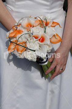 Black, white orange wedding | Orange & White Bridal Bouquet w/ Orange Picasso Lilies and Roses