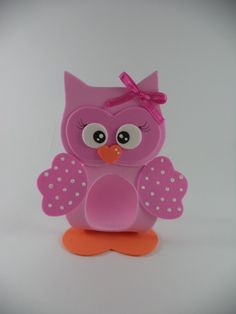 Porta bombom coruja rosa para menina feito em EVA <br>Produto feito sob encomenda acima de 10 unidades. <br>Prazo para produção 7 dias úteis, dependendo da quantidade do pedido