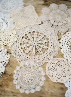 Doilies sewn together to create a beautiful and bohemian table runner for your #wedding