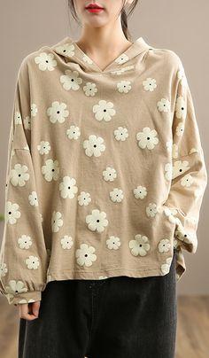 Handmade Hooded SpringTop Wardrobes Khaki Print Tops Autumn Tops, Linen Tops, Linen Blouse, Wardrobes, Long Sleeve Tops, Hoods, Tunic Tops, Plus Size, Spring