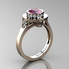 Top Hat Skull 14K Rose Gold 1.0 Ct Pink Sapphire Diamond Solitaire Engagement Ring R1025-14KRGDPS