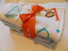 Minky Aqua Abc's & Animal print Burp Cloths/ Set of 5