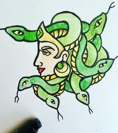 Finished more Gorgon art #medusa #gorgon #watercolor #snakes...