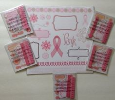 New Creative Memories THINK PINK 12 X 12 & 5 Packs Embellishments