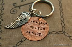 My Heart My Hero My Angel Mixed Metal Hand Stamped Memorial Key Chain Heaven Loss Father Mother Grandmother Grandfather In Memory Of Gift by Simple66Stuff on Etsy https://www.etsy.com/listing/176525353/my-heart-my-hero-my-angel-mixed-metal