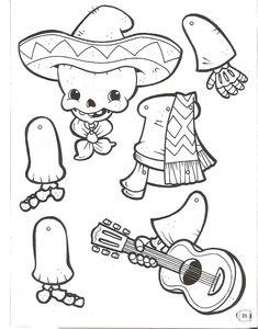 RECORTAR MARIONETAS MUÑECOS DIA DE MUERTOS . http://infantil20.com/recortar-marionetas-munecos-dia-de-muertos