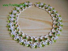 Green dainty nacklace-tatting by Asfina