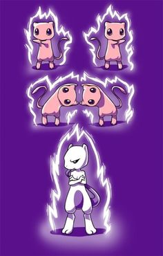 Ahhhhhh! How cute! Dragon ball z and pokemon! Two mews doing the fusion dance!