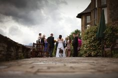 Wedding guests on the terrace at The Cragwood Hotel, Windermere, Lake District