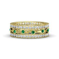 1.20ct Emerald & Diamond Eternity Wedding Ring 18kt Yellow Gold BLUERIVER47 Fine Jewelry Etsy Anniversary Bridal Bridal Gift Rings