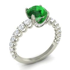 Round Emerald  and Diamond  Sidestone Ring in 14k White Gold