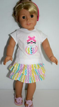 Appliqué Top 18 in Doll Clothes Fit American Girl Handmade Easter Bunny Skirt