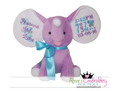 Personalized Stuffed Elephant, Dumble Elephant, New Born Baby, Birth Announcement Gift by ReneesEmbroidery on Etsy https://www.etsy.com/listing/470420936/personalized-stuffed-elephant-dumble