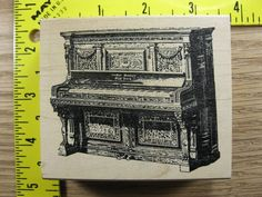 Stampinsisters Rubber Stamp Antique Upright Piano Music Musical Instrument #2404