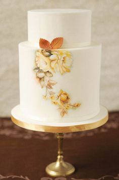 Beautiful hand-painted floral cake
