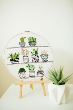 Rosie's Houseplants Hand Embroidery Pattern & Kit from Bustle & Sew modern embroidery | cactus | succulents | embroidery pattern | modern decor | cactus embroidery