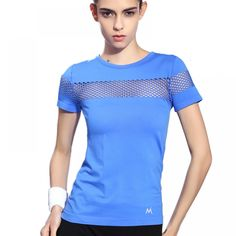 Summer Style Fitness Women Sports T-shirt Running Short Sleeve Quick Dry Breathable Gym Sexy Hollow Nylon Sportswear Tops Nylons, Sport T-shirts, Gym Tops, Sexy, Gym Shirts, Fitness Shirts, Fitness Apparel, Womens Fashion For Work, Courses