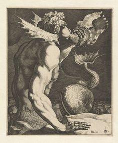 Een triton die op een schelp blaast, Jacob de Gheyn (III), 1616