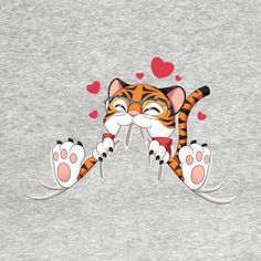 Cute Tiger Chewing by tessacreativeart T Shirt Painting, Fabric Painting, Painting For Kids, Art For Kids, Lion Tigre, Tiger Illustration, Paint Shirts, Cute Tigers, Christmas Drawing
